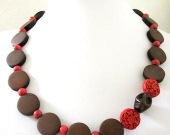 Sugar Skull Necklace Day of the Dead Jewelry Cinnibar Skull Dark Wood Necklace