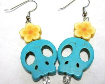 Blue Skull Earrings Day of the Dead Flat Sugar Skull Earrings