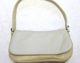 Vintage Ivory Leather Purse Cream Handbag Soft Shoulderbag
