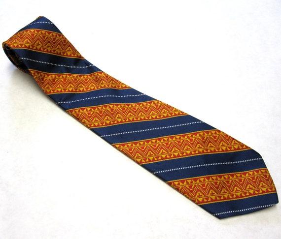 """Vintage Necktie 4"""" Wide Red Golden Yellow  Blue Beau Brummell Mr Wonderful Polyester Tie"""