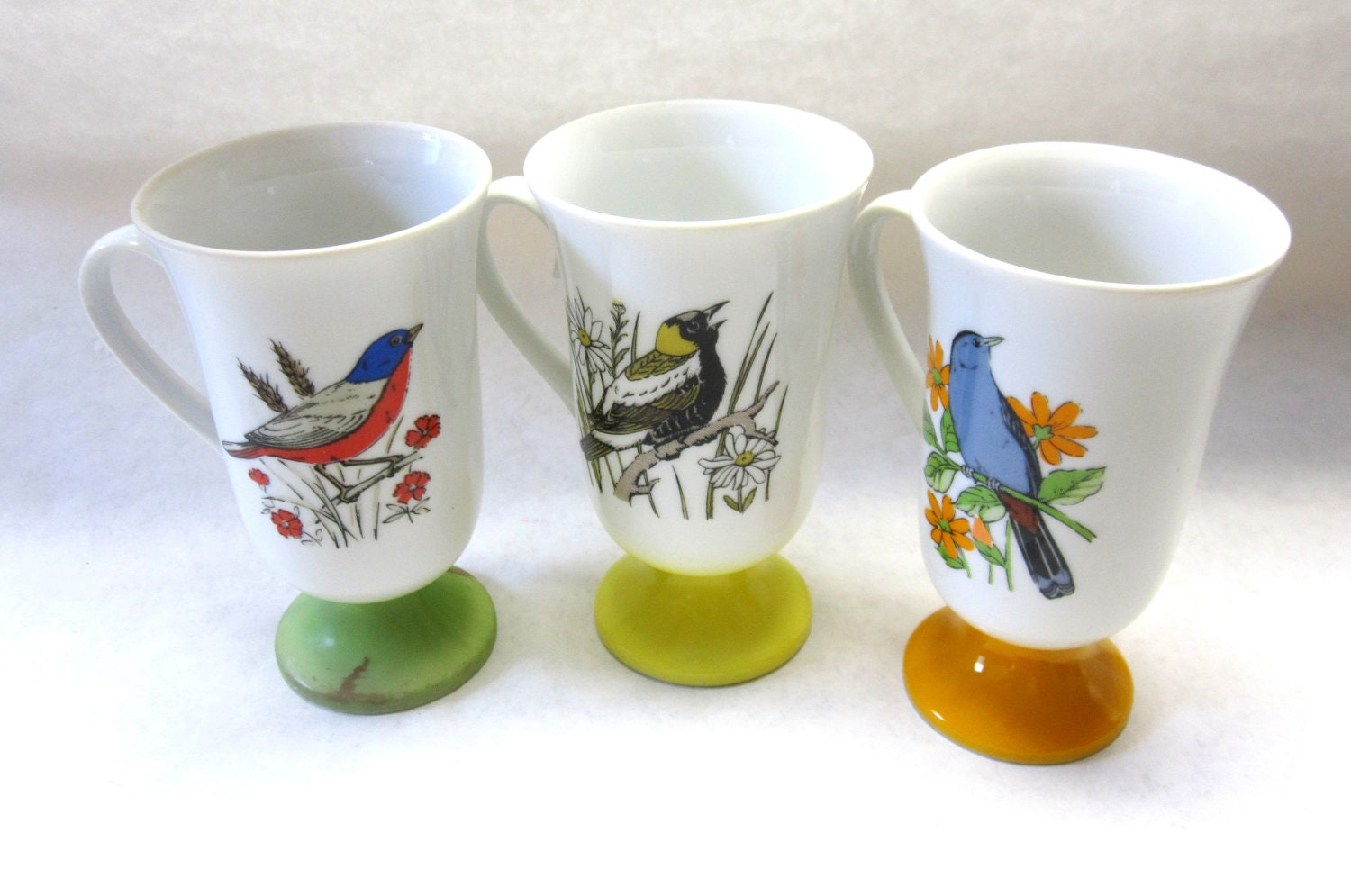 Pedestal Coffee Cups Mugs Bird Motif White Orange Green Yellow