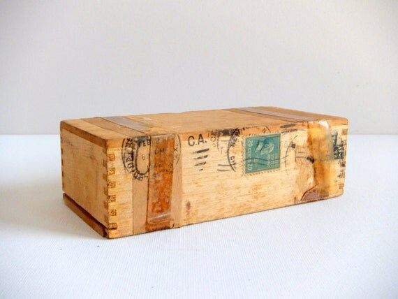 Wood Shipping Box for Spectacles or Eyeglasses, 1940's