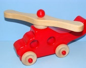 RED Wooden Toy mini Helicopter