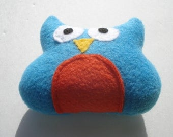 Baby Owl Dog Toy - Bright Blue and Orange - For Teacup Dogs