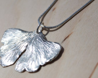 Fine Silver Ginkgo Leaf Necklace - large leaf