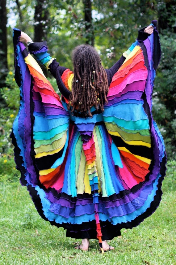 Ready Now Rainbow gypsy butterfly faery dream traveling patchwork  Katwise style rave upcycled recycled sweater coat