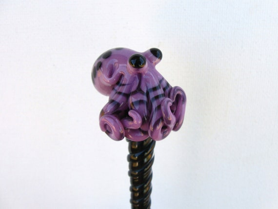 Purple Spotted Glass Octopus HairStick