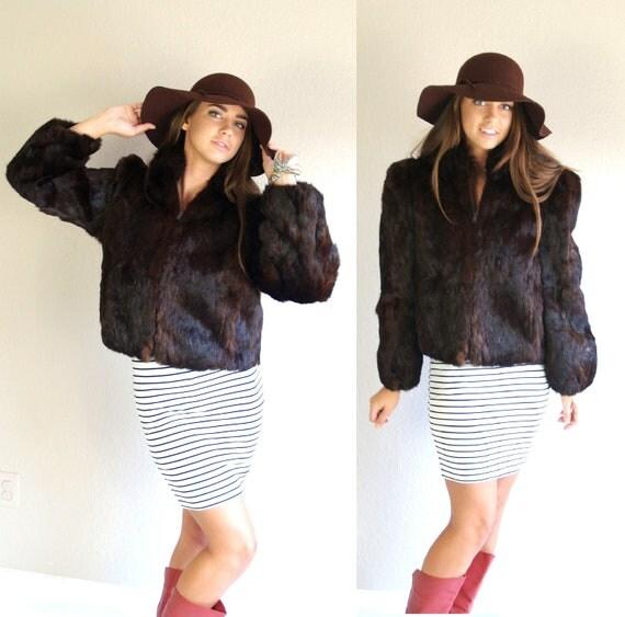 Luxe vtg 80s deep Cocoa Brown real RABBIT FUR COAT Medium boho jacket glam outerwear