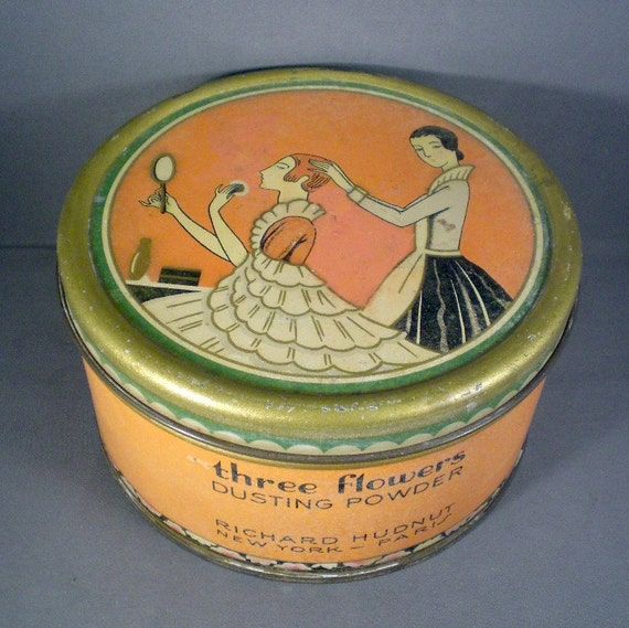 Vintage Three Flowers Art Deco Cosmetic Powder Tin Box