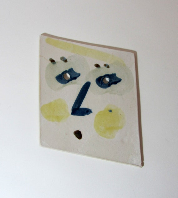 Abstract WEIRD FACE Decorative Geometric Ceramic Plaque/Trivet