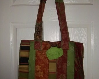 Recycled Upholstery Tote Bag Batik-lined w/ Rose