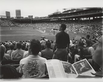 Fenway Park 1997 Baseball Print, Black & White Full Frame Photograph, Boston Red Sox, Office Decor, Wall Decor, Sports Photography