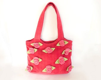 Pink Tote Bag with Roses, Honeysuckle Pink Shopper, Bohemian Accessories, Romantic Corduroy Purse