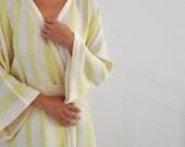 Kimono Robe Cotton Bath Robe Turkish Bath Towel Peshtemal Caftan Eco Friendly Extra Soft Green Neon Striped