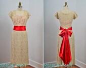 1950s dress/ 50s lace gown/ illussion neckline