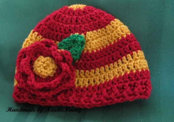 Toddler Girl Team Hat Burgundy and Gold  with Flower Team Spirit Crochet Hat Children Clothing