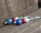 SALE: Sodalite and Swarovski Pearl Earrings