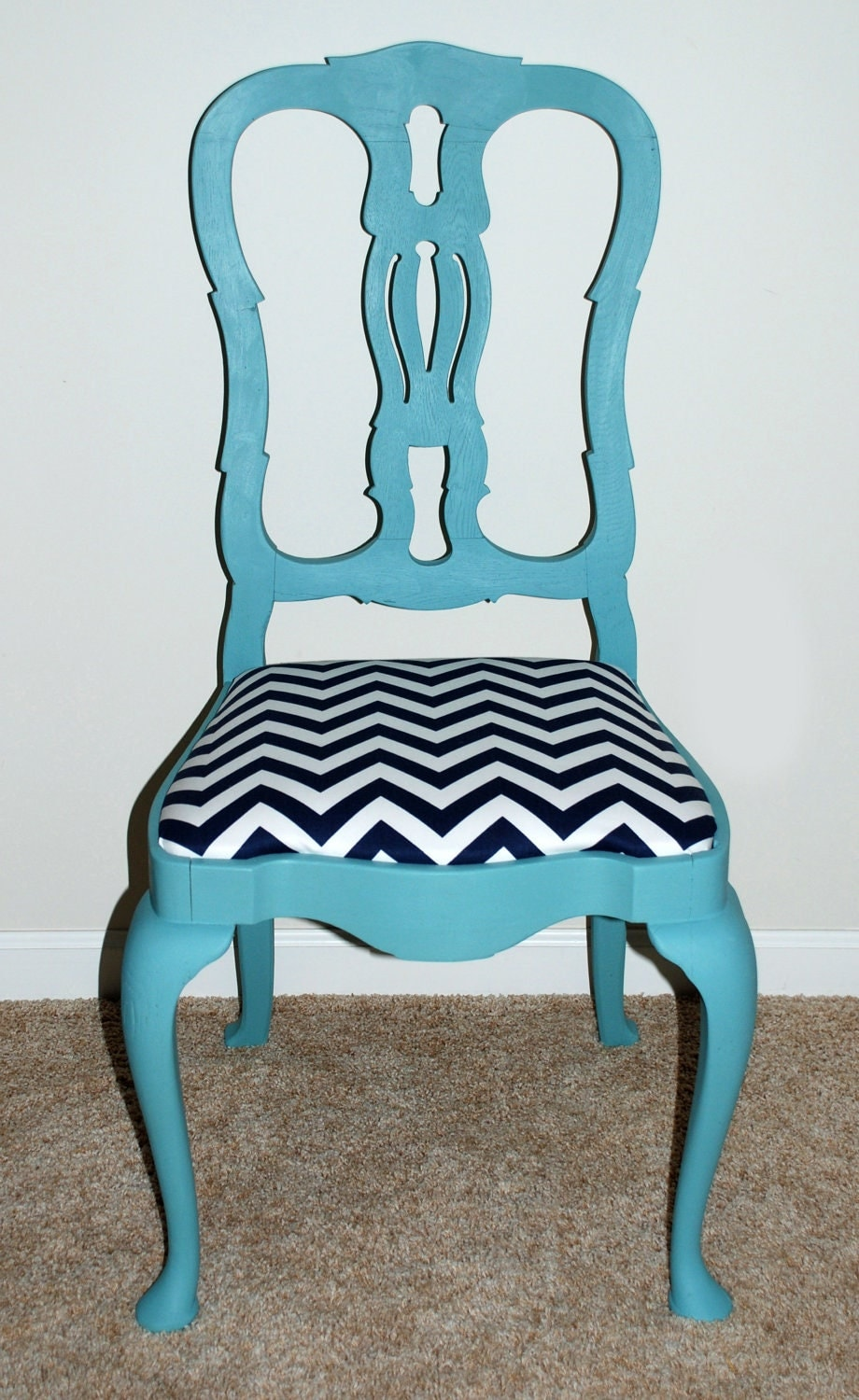 Refinished Turquoise and Chevron Print Chair by ElsAndWhistles