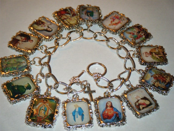 catholic saints bracelet catholic saints altered charm bracelet 8989