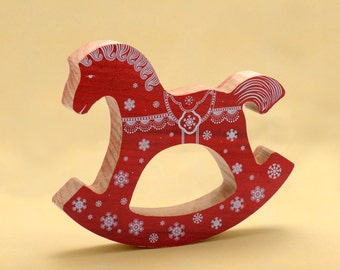 Christmas wooden rocking horse