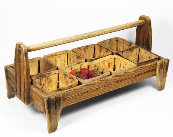 RESERVED for Paula - Vintage Early 1900's Wooden Berry Picking Tote w/ Berry Baskets