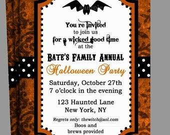 Halloween Damask Invitation Printable - Elegant Halloween Party
