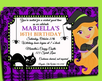 Halloween Invitation Printable or Printed with FREE SHIPPING - Birthday, Halloween Party - Purple Damask- You pick Hair Color/Skin Tone