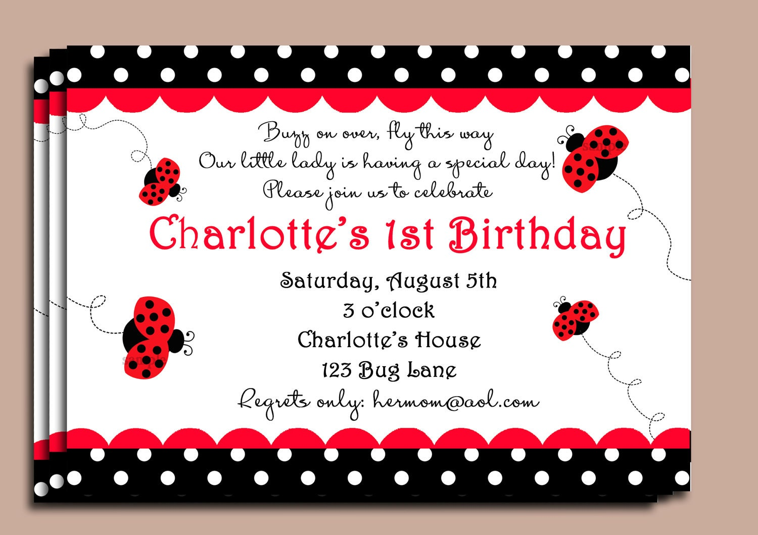 Red Ladybug Invitation or Printed with FREE SHIPPING – Ladybug Party Invitations