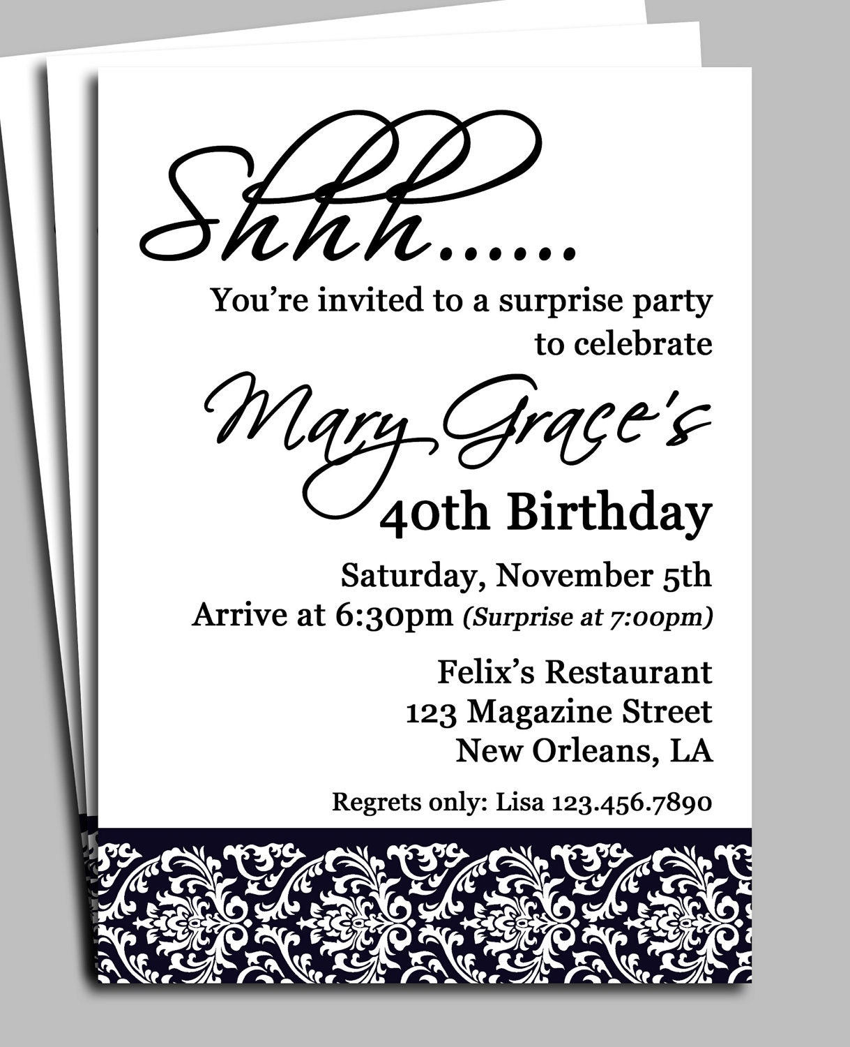 Black Damask Surprise Party Invitation Printable or Printed – Shhh Surprise Party Invitations
