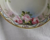 Set Nippon Hand painted Dessert Plates/ Gold moriage trim / Pink Roses