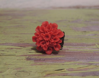 Raspberry Flower Brass Ring