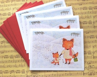 Snow Foxes Christmas Card - Set of 4 Cards by Megumi Lemons