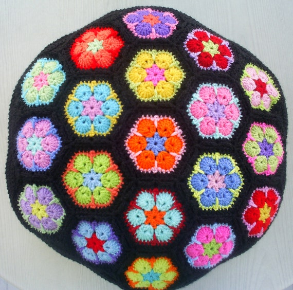 the african flower granny cushion cover/ pillow cover