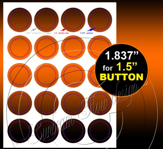 """INSTANT DOWNLOAD - Template for 1.5"""" Buttons TEMPLATE 65 Printable Badges Accessories Jewelry Stickers Cards Hangtags pyo diy"""