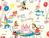 Vintage Gift Wrap JPG Digital Scan Download - Happy Birthday Vintage Gift Wrap Scan