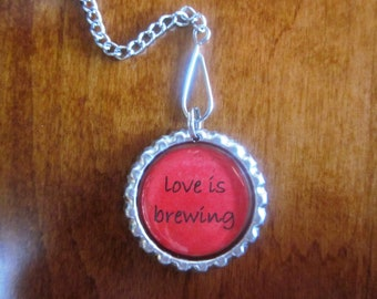 "Tea Infuser with - love is brewing - Bottle Cap Charm - 2"" Mesh Tea Ball"