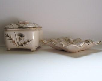 Hollywood Regency trinket tray and powder dish pink dandelion gold