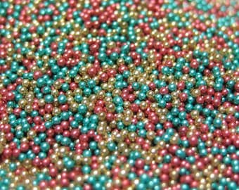 micro marbles christmas holiday color mix half ounce / 14 grams glass microbead miniature kawaii sprinkles Supplies