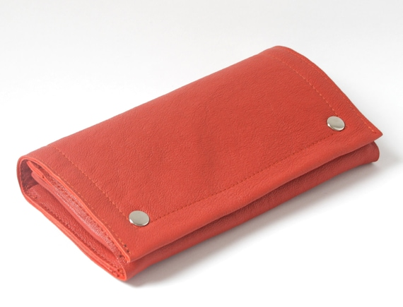 Genuine Leather Clutch Wallet in Pumpkin, coral red secretary wallet, H10 x W18 x D2 cm