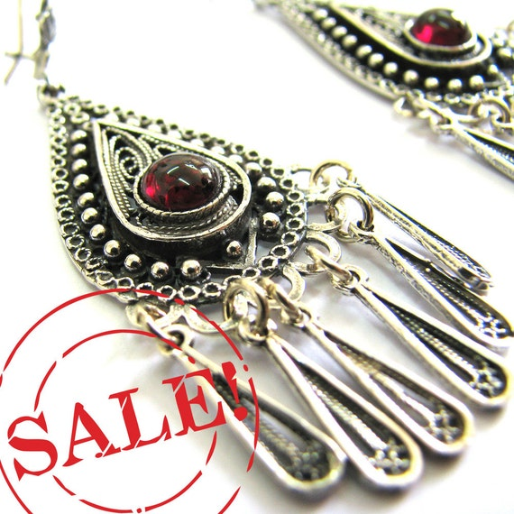 SALE 10% OFF - 925 Sterling Silver Filigree Ethnic Drop Chandelier Earrings Decorated With Garnet Gemstones - Free Shipping ID77