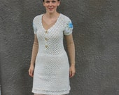 Crochet dress, natural white dress, wool dress, tunic dress, see through dress, embroidered sleeves dress, v-neck dress, vest dress