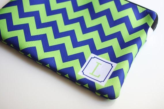 Monogrammed Chevron Neoprene Laptop Sleeve - also for iPad