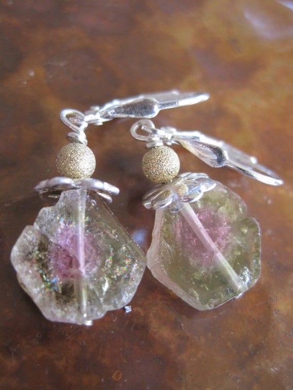 Rough Watermelon Tourmaline Slice Earrings Handcrafted Jewelry