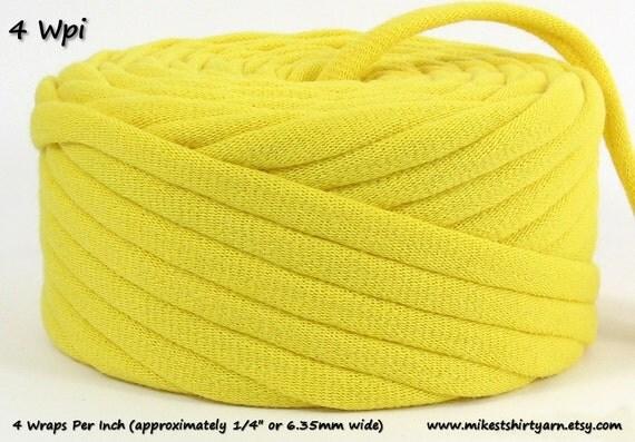 T-Shirt Yarn Recycled Yellow 24 Yards 4 Wpi Rug Yarn