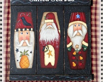 E PATTERN - Santa Staves - 3 new Santa designs for 2012 - Terry French design, Painted by Me, Sharon B - FAAP