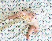 Giraffe Baby Blanket and Knotty Hat in Cobalt, Teal and Emerald -  Giraffes on Organic Interlock - Swaddle Blanket Eco Friendly