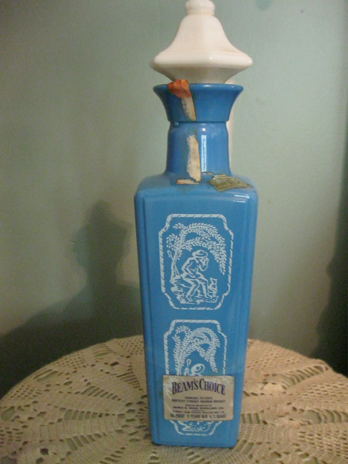 Vintage Jim Beam Decanter Blue And White Milk Glass