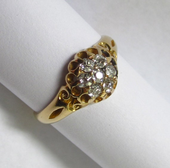SALE- ELEGANT Antique Victorian Diamond Cluster Swirly 18K Gold RIng
