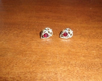 vintage screw back earrings silvertone rhinestone