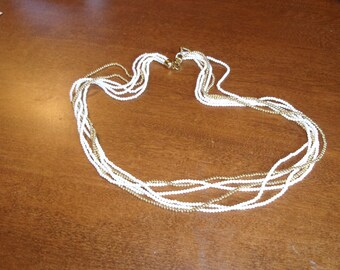 vintage necklace multi strand white gold beads